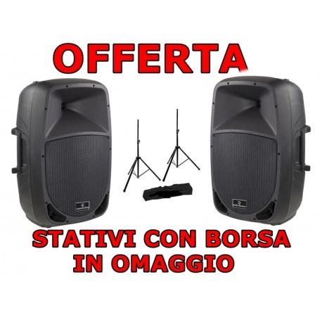 SOUNDSATION GO SOUND 15A COPPIA CASSA AMPLIFICATA 15'' 880WATT + STATIVI CON BORSA + CAVI