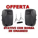 SOUNDSATION GO SOUND 15A COPPIA CASSA AMPLIFICATA 15'' 880WATT + STATIVI CON BORSA